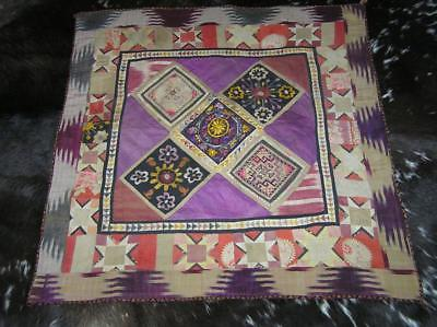 Antique Middle Eastern hand applique & embroidered Wall hanging Quilt 3'x3'