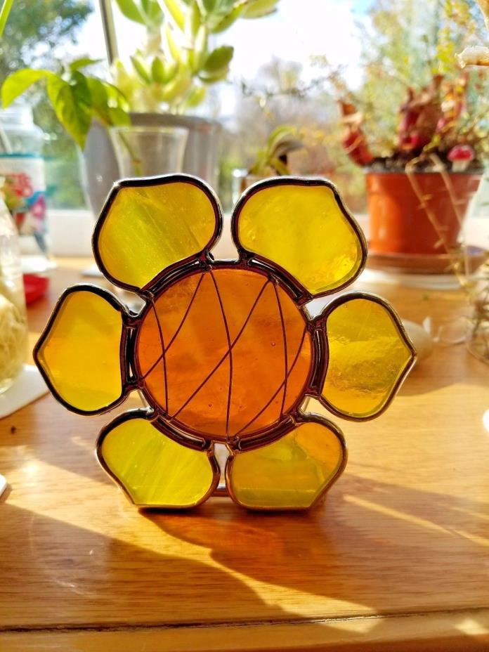 Stain Glass Sunflower Candle Holder