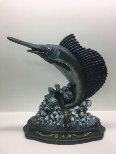 """Cast Iron Metal Swordfish Marlin Sailfin Fish Door Stop Nautical 12"""""""