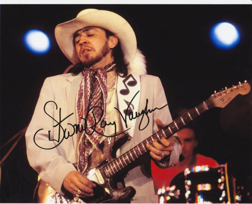 (10) STEVIE RAY VAUGHAN  8x10 REPRINT PHOTOS & REPRINT AUTOGRAPH ON  PHOTO PAPER