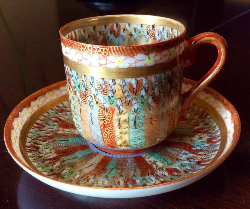ANTIQUE JAPAN KUTANI 1000 THOUSAND FACES DEMITASSE CUP SAUCER EGGSHELL CHINA #2