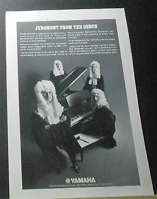1972 YAMAHA PIANO vintage print Ad judges sit in judgment from the bench