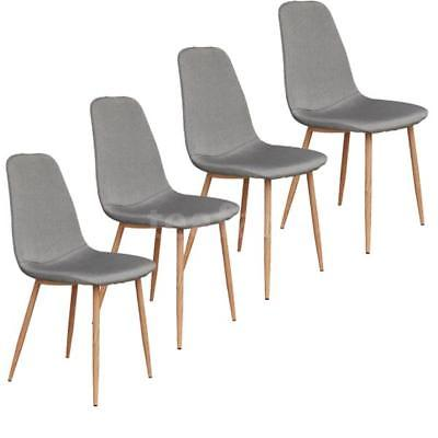 Set Of 4 Mid-Century Fabric Upholstered Metal Leg Kitchen Dining Chairs C0K3