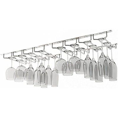 Wine Glass Rack Under Cabinet Storage Holder Hutch Bar Decor Stemware 32 Glasse