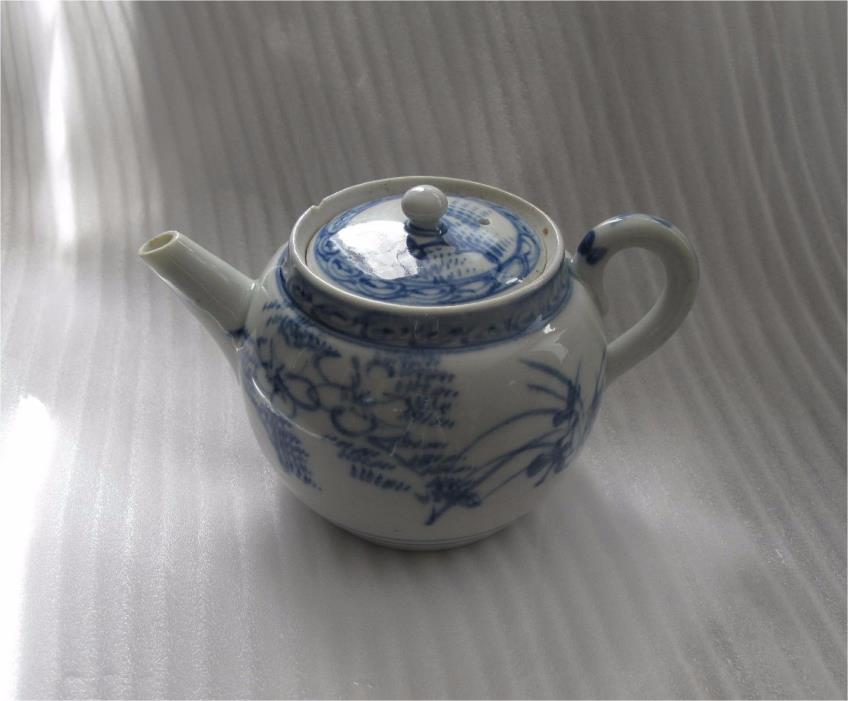 1800's Chinese Export Porcelain Tea pot Blue & White  Jiaqing