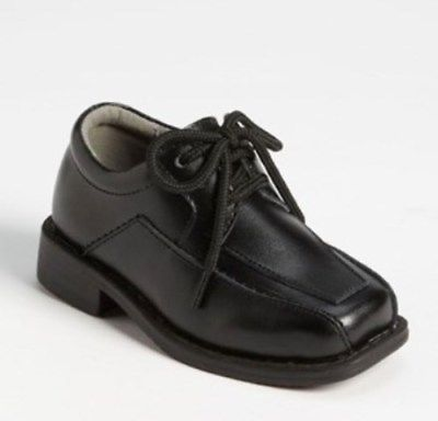 JUMPING JACKS Edward Boys Size 10-10.5 M Toddler, Black Leather Shoes, NIB, $63