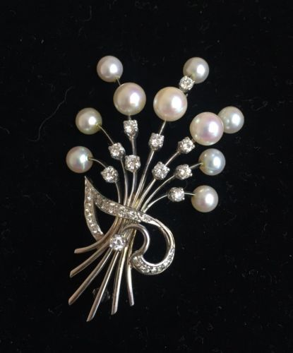 White Gold Floral Spray Brooch With Diamonds And Pearls