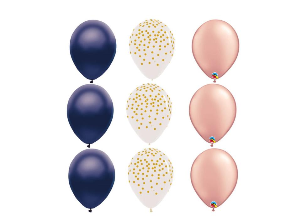 12 BALLOONS ROSE GOLD dots MIDNIGHT BLUE wedding SHOWER PARTY BIRTHDAY wedding