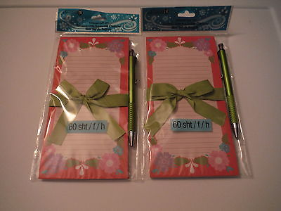 NEW LOT 2 MAGNETIC 60 SHEET SHOPPING TO DO LISTS GIFT SETS WITH PEN -RED FLOWER