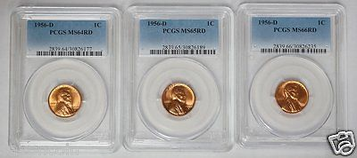 1956 D 1C Lincoln Wheat Cent Penny PCGS MS64RD, MS65RD & MS66RD 3 Coin Set