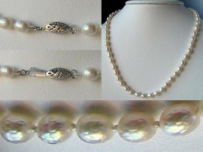 LOVELY! Creamy FACETED PEARL Silver 18