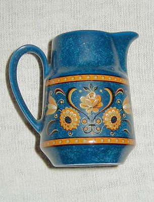 OLDER ART POTTERY CREAM PITCHER, MOTTLED BLUE WITH FLOWERS, HAND PAINTED?!!