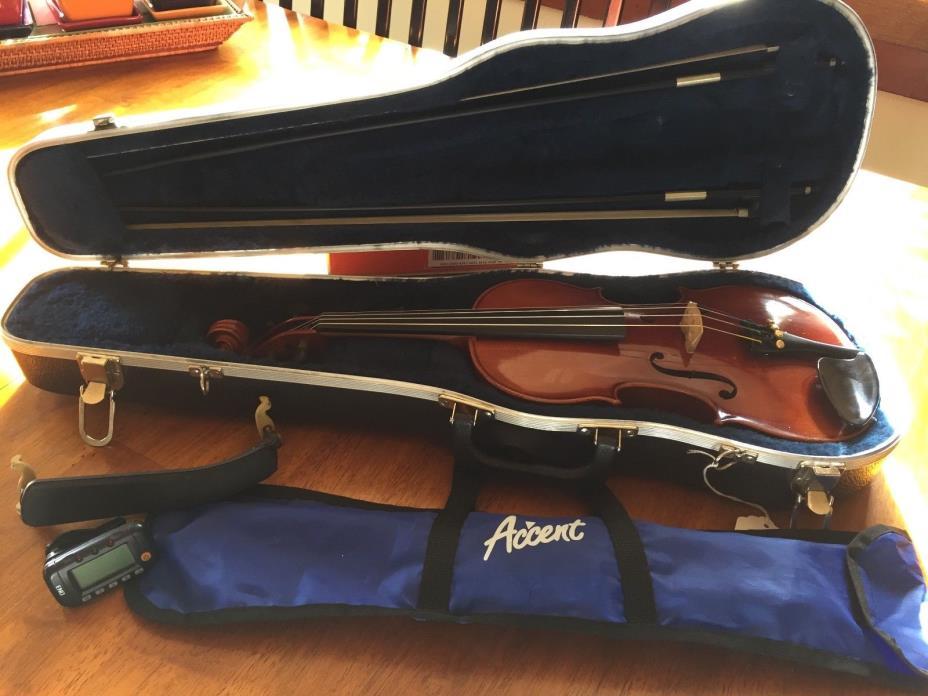 Karl Knilling 3/4 Violin w/ Case 2 Bows Stand Resin Shoulder Rest +