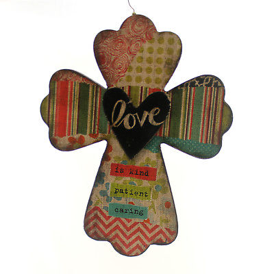 Home Decor LOVE WALL CROSS Wood Kind Patient Caring 4054823