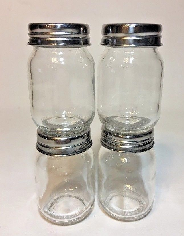 Lot Of 4 Kate Aspen Mini Jars With Lid Storage Container Glass