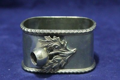 Antique Silver Plate Napkin Ring - Rectangular With Berries