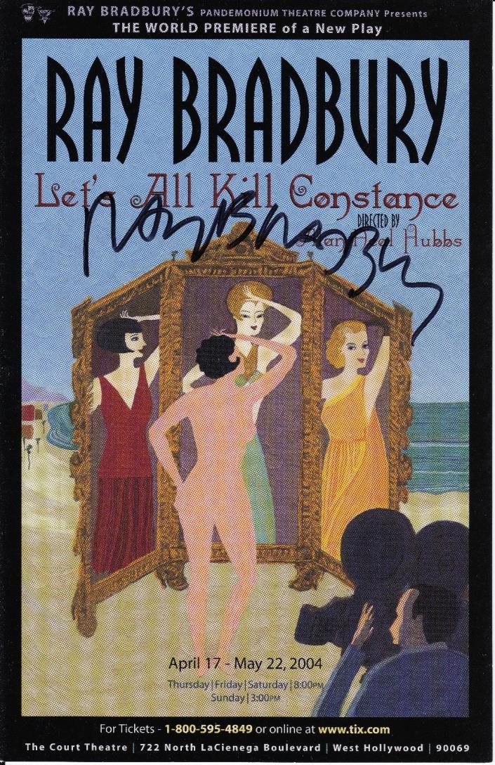 Ray Bradbury Signed LET'S ALL KILL CONSTANCE Large Postcard 5.5