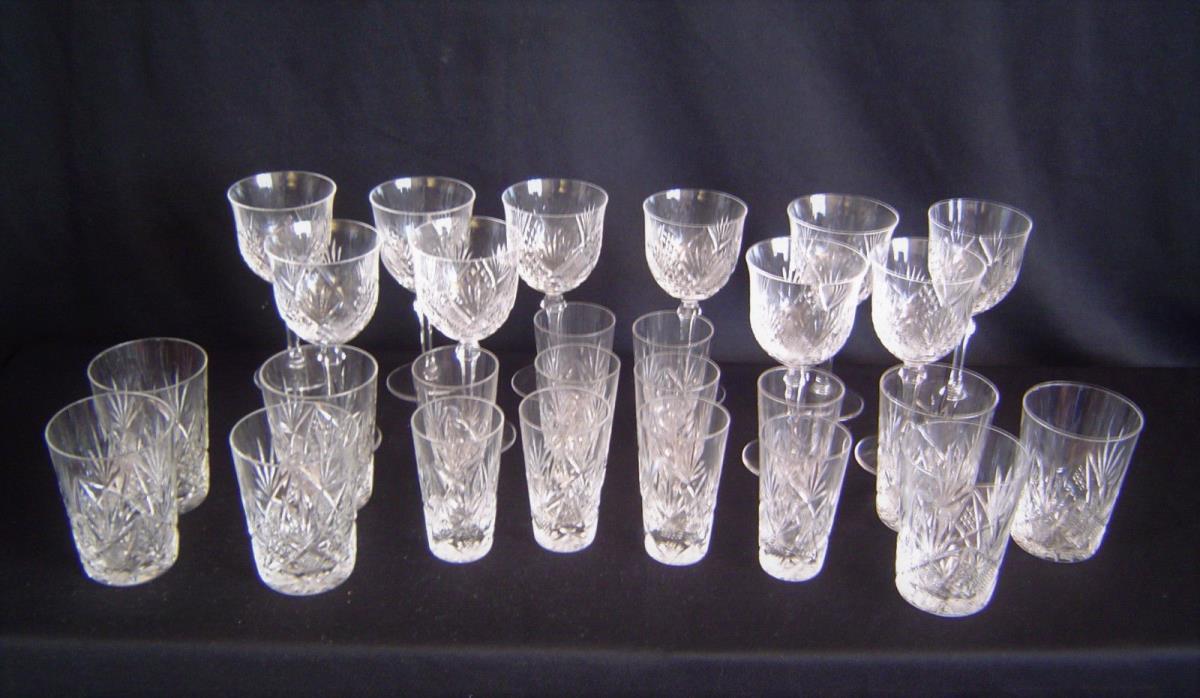 Set 27 Hand Cut Leaded Crystal Glasses  Circa 1925