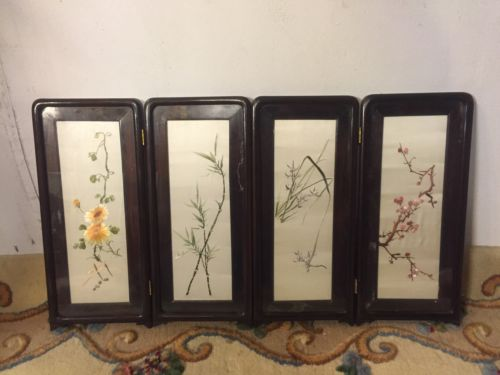 Chinese Silk Embroidered Framed Table Top Screen.C12pics4 detail&size.MAKE OFFER