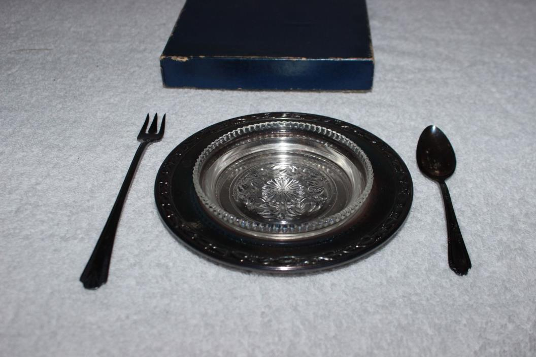 Vintage Silverplate Stanley Jelly Dish w/WM Rogers A1 Plus Sppon & Vernon Silver