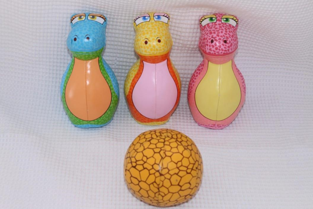 Dinosaur Bowling Soft Vinyl Set with 3 pins and 1 ball FREE SHIPPING