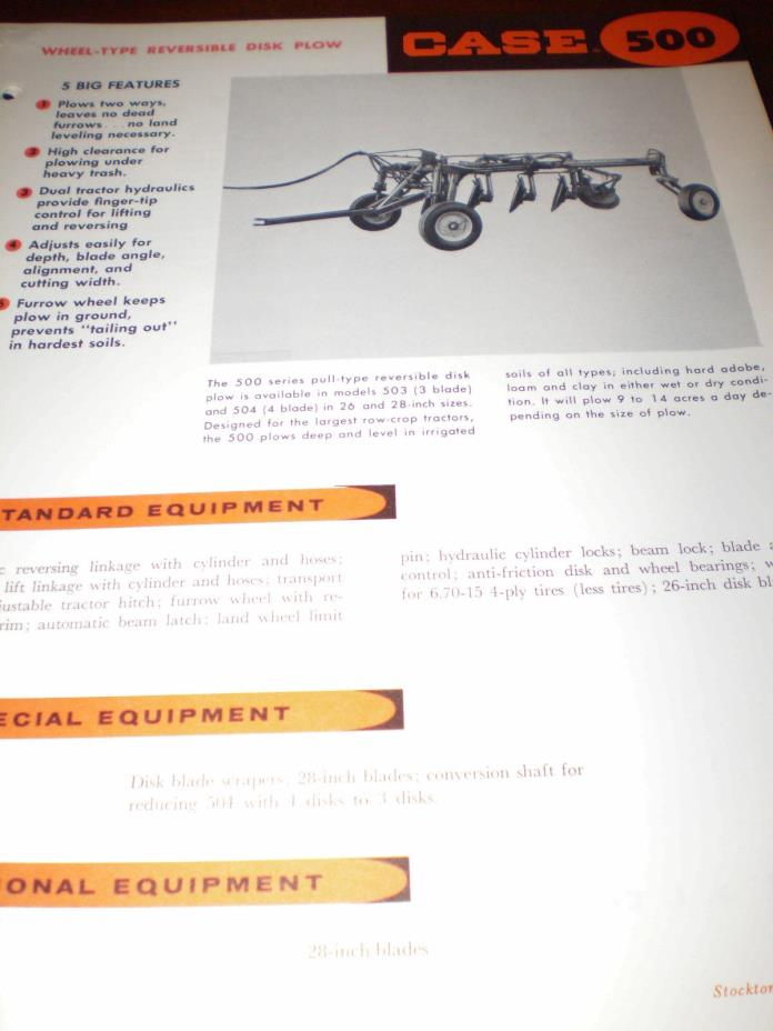 JI Case 400, 500 & 600 Reversable Plow Specifications Brochures 3 items