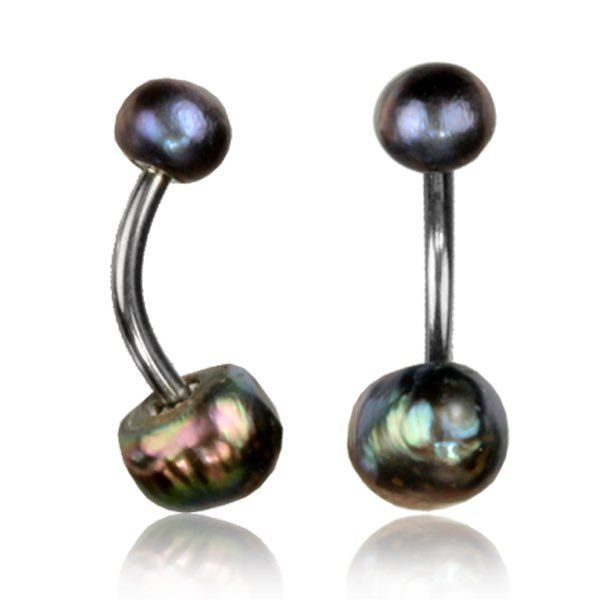 14G PEARL BELLY RING 1.6MM NAVAL BAR REAL BLACK FRESH WATER PEARL BOHO GYPSY