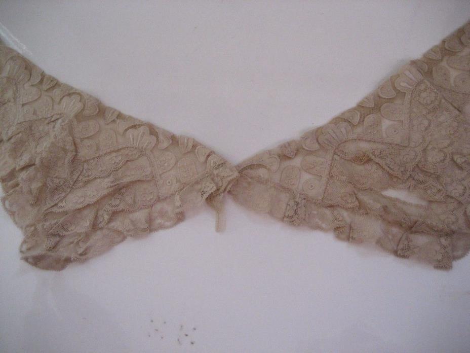 Vtg Antique VICTORIAN LACE Ecru COLLAR 12X20 Ruffles Embroidery Edwardian Unused