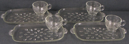8 PC. SET = 4 SETTINGS - HAZEL-ATLAS GLASS - INFORMAL SNACK SET - CRYSTAL