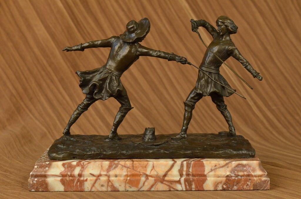 Huge Sale Patoue Two Male Fencer Bromze Sculpture Marble Statue Hot Cast Decor