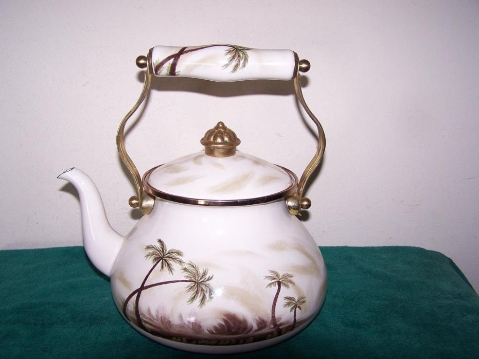 Tabletops Unlimited Palm Tree Design Tea Pot Vitroceramic Induction