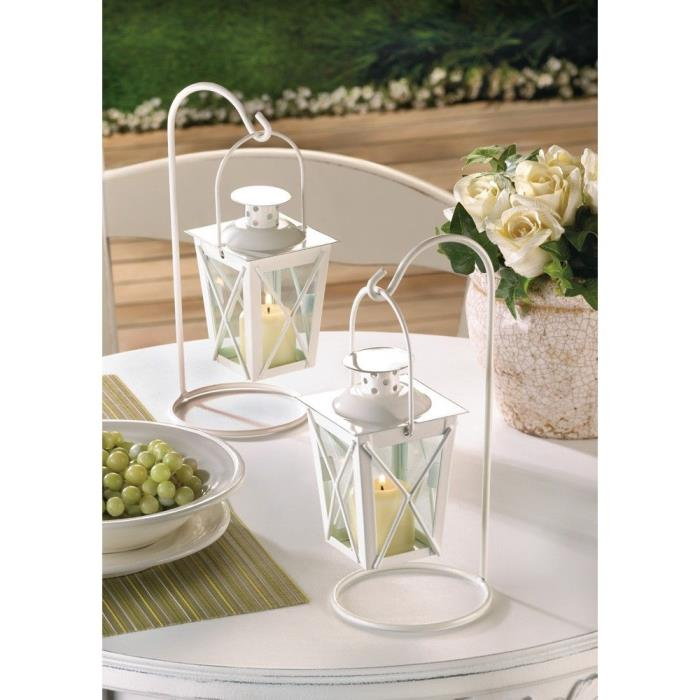 Case Of 12 Sets-White Railroad Wedding Candle Lanterns