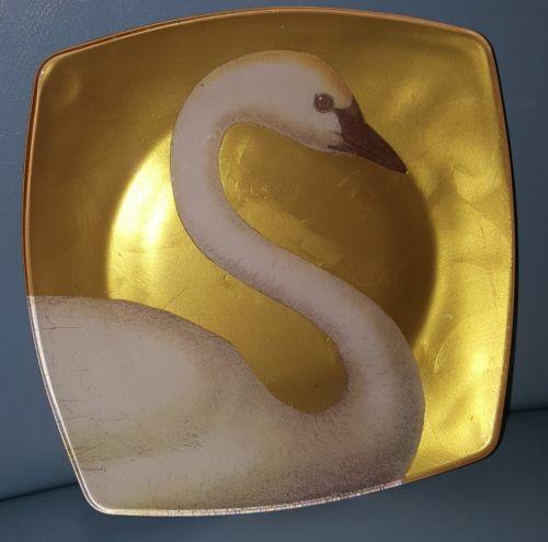 Vtg trumpet Swan birds enamel 7