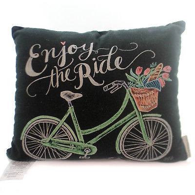 Home Decor BICYCLE CHALK ART PILLOW Fabric Enjoy The Ride Basket 30551