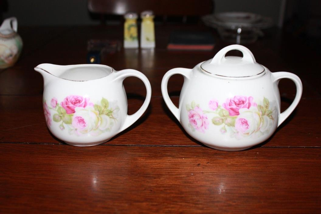 Vintage Made in Germany 60 Sugar and Creamer Pink Roses