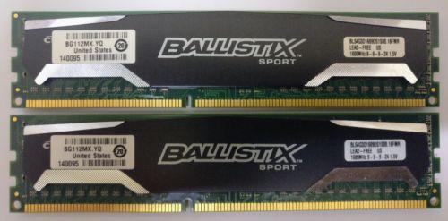 Crucial Ballistix Sport 8Gb (2x4Gb) DDR3 1600Mhz Desktop Memory