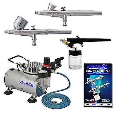 Master Airbrush Multi-purpose Professional Airbrushing System with 3 Airbrushes