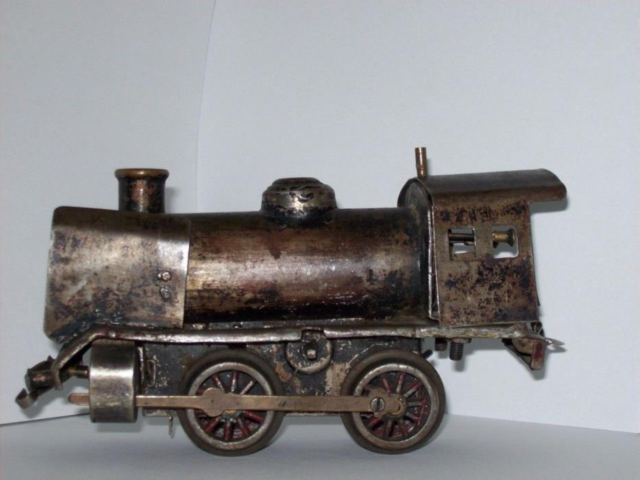 Train Engine, Metal Custom Built In Early 1900'sOn Top Of Wind Up Motor Chassis