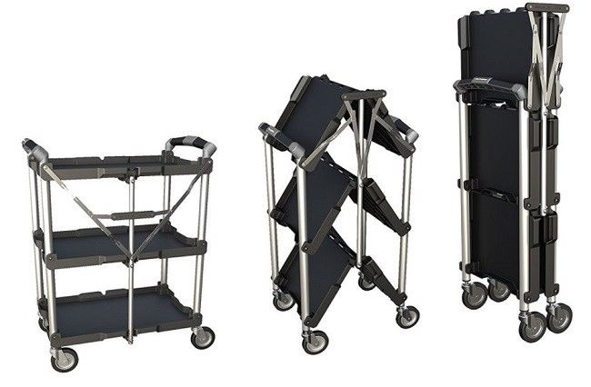 Collapsible Rolling Cart For Laundry Utility Groceries Carts Wide Rack Portable