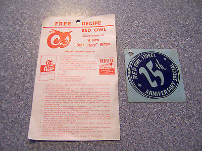 RED OWL ADVERTISING Grocery Store 25th Anniversary & Recipe Yeast Flour Sack AD