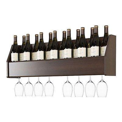 Wine Glasses Rack Floating Shelves Bottle Holder Bar Shelf Wall Mount Storage