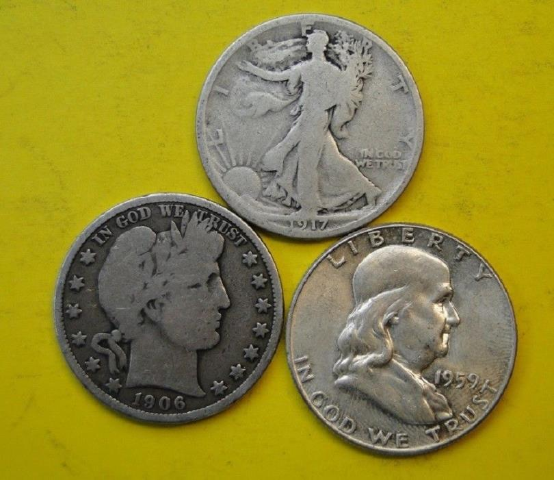 THREE OLD 90% SILVER HALF DOLLARS ~ BARBER - WALKING LIBERTY - FRANKLIN