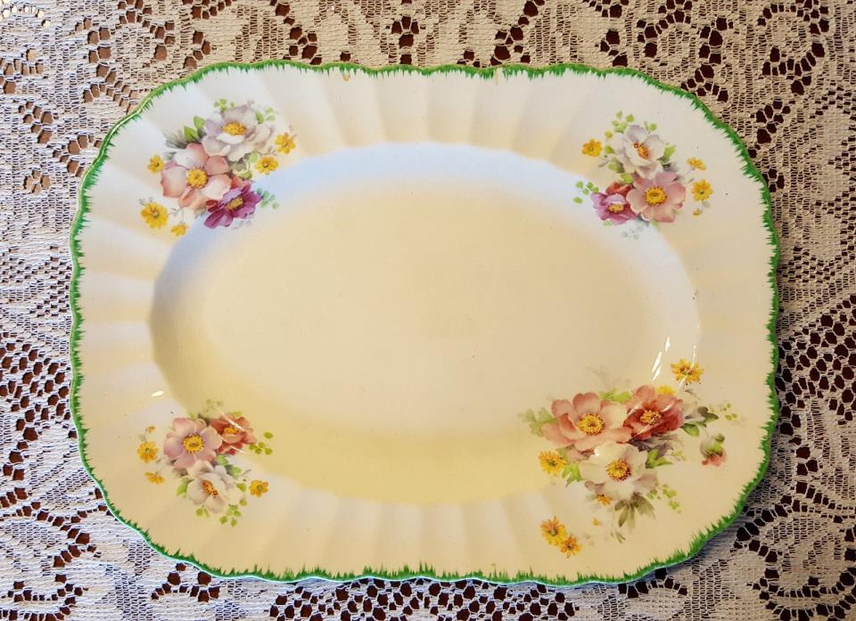 Antique 1925 Ivory Porcelain by Sebring Floral Serving Platter 11