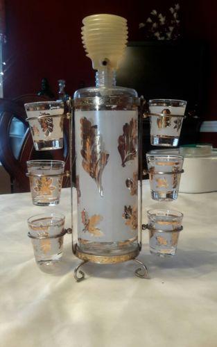 VTG Aldon Bar Set - Decanter w/ Pump 6 Shot Glasses & Holder/Carrier