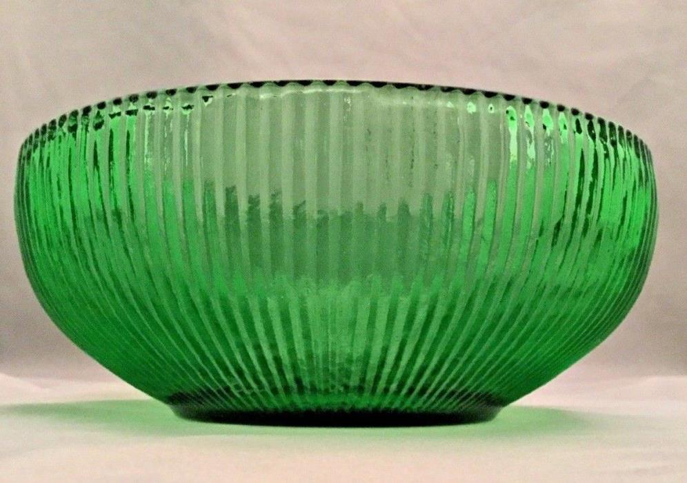 Vintage EO Brody Co Green Ribbed Round Glass Dish Cleveland OH USA EUC
