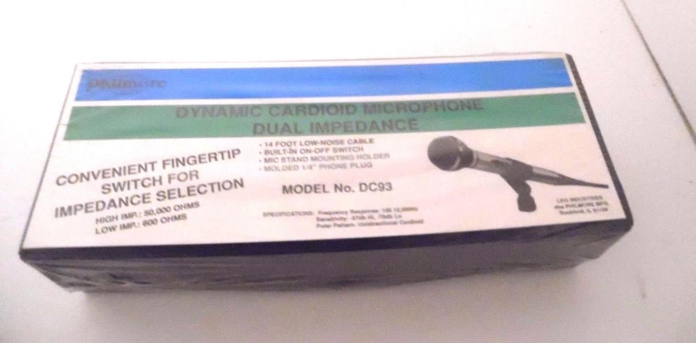 PHILMORE DC93 DYNAMIC CARDIOID MICROPHONE - DUAL IMPEDANCE - NEW SEALED IN BOX