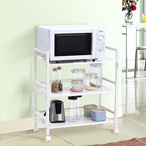 Bathroom Storage Microwave Farmhouse Kitchen Shelf Cart Carts On Wheels Outdoor