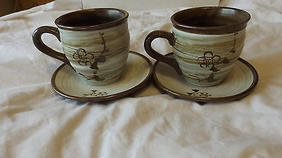 Set of 2 Ceramic Tea Coffee Cups with Saucers CL32-9