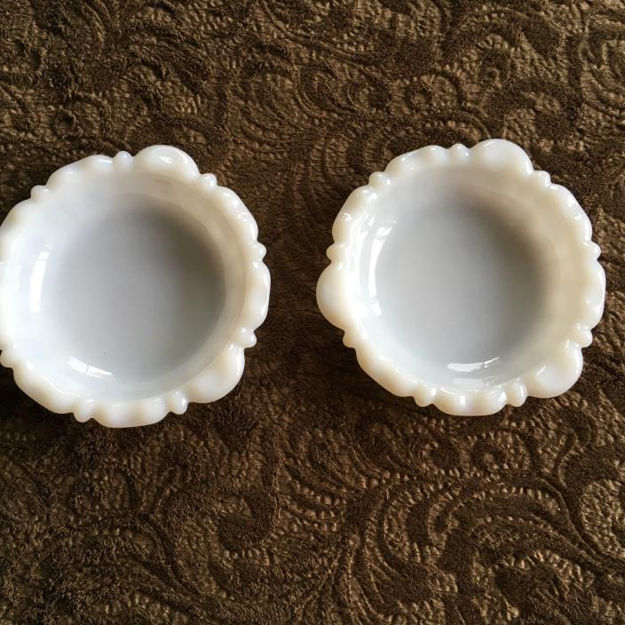 2 Vintage Anchor Hocking White Milk Glass Thumbprint Candy Trinket Dish Ash Tray