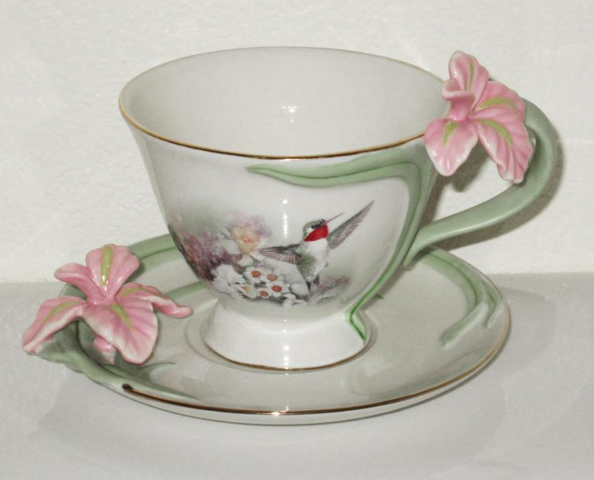 Bradford Exchange DAFFODIL CONCERTO Lena Liu Delicate Jewels Teacup+Saucer inBox
